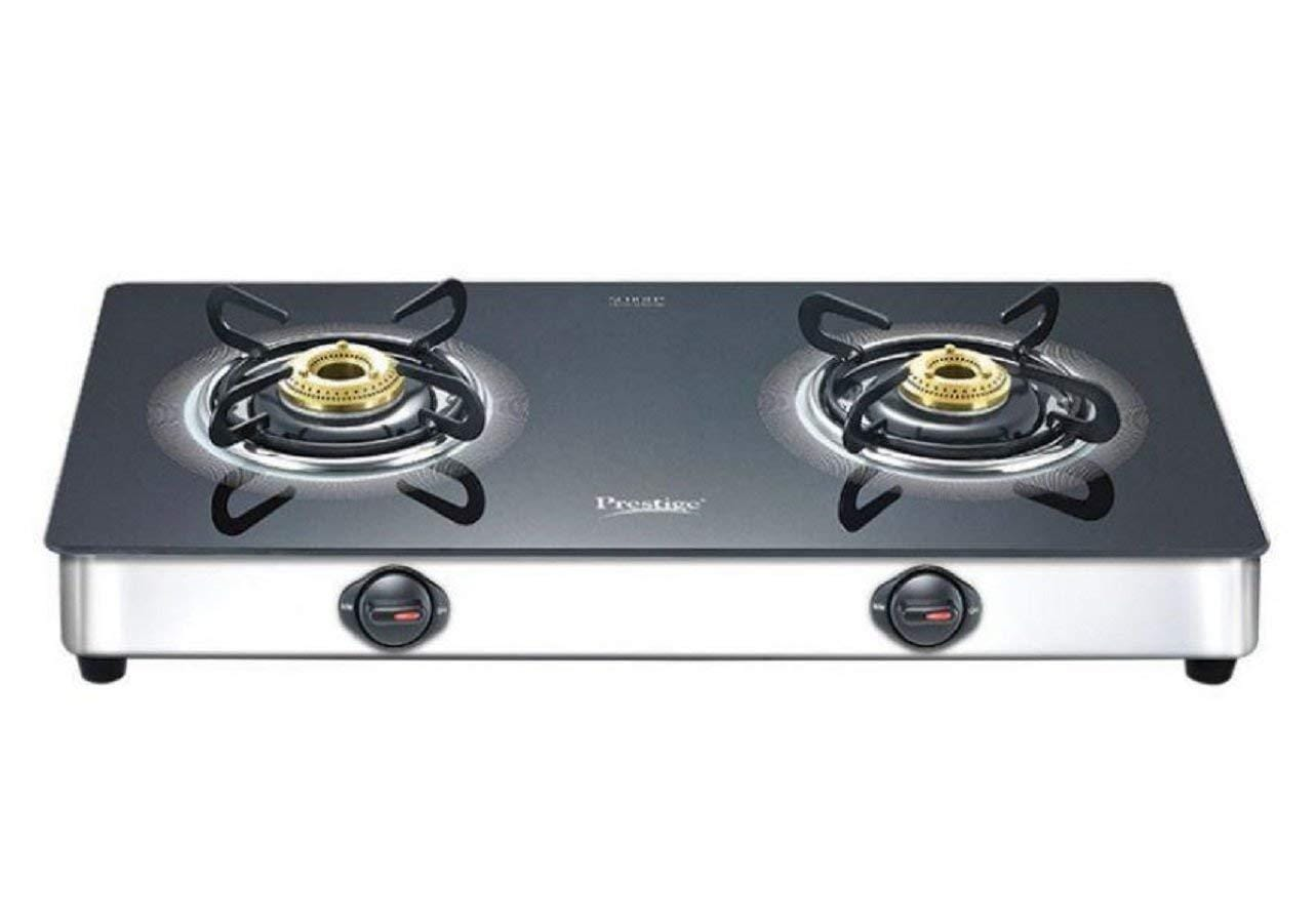 Prestige Royale Plus Schott Glass 2 Burner Gas Stove, SS (GTS 02SS) - KITCHEN MART