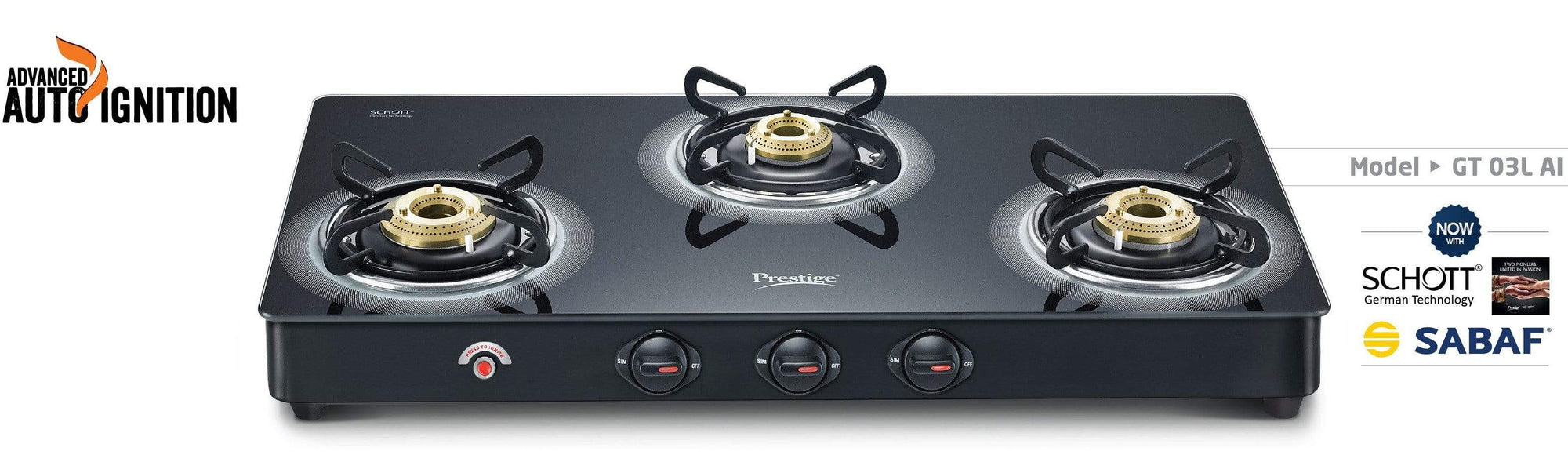 Prestige Royale Plus Schott Glass 3 Burner Gas Stove, Auto Ignition - KITCHEN MART