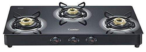 Prestige Royale Plus Schott Glass 3 Burner Gas Stove, Black - KITCHEN MART