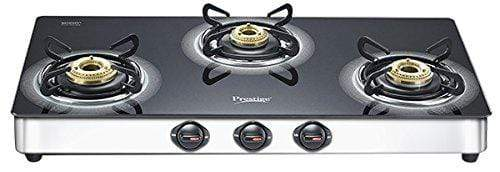 Prestige Royale Plus Schott Glass 3 Burner Gas Stove, SS (GTS 03SS) - KITCHEN MART