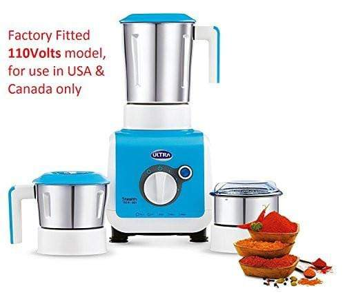 Ultra Stealth 750-Watt 3 Jar Mixer Grinder, 110 Volts (For Use in USA and Canada Only) - KITCHEN MART