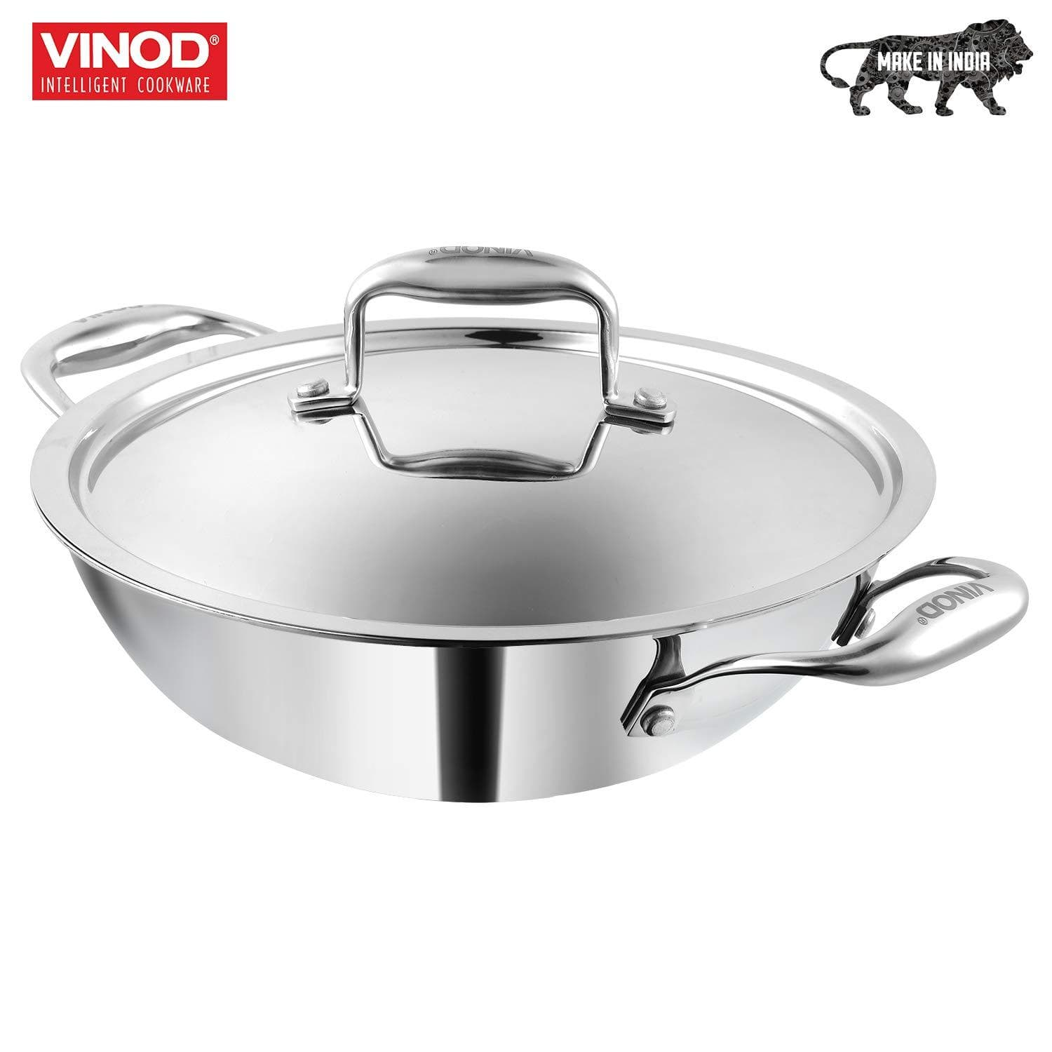 Vinod Platinum Triply Stainless Steel Kadai with Lid 22cm 1.8Ltr. 827016301743