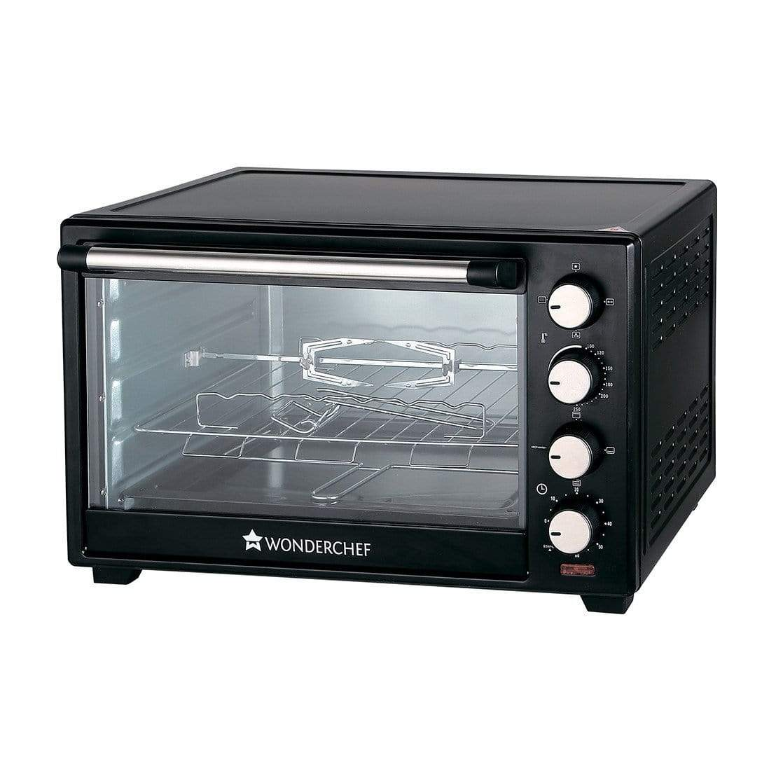 Wonderchef 63152220 28-Litre Oven Toaster Grill with Convection and Rotisserie (Black) - KITCHEN MART