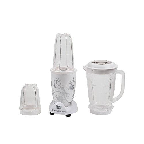 Wonderchef Nutri-Blend 400-Watt Mixer Grinder with 3 Jars (White) - KITCHEN MART