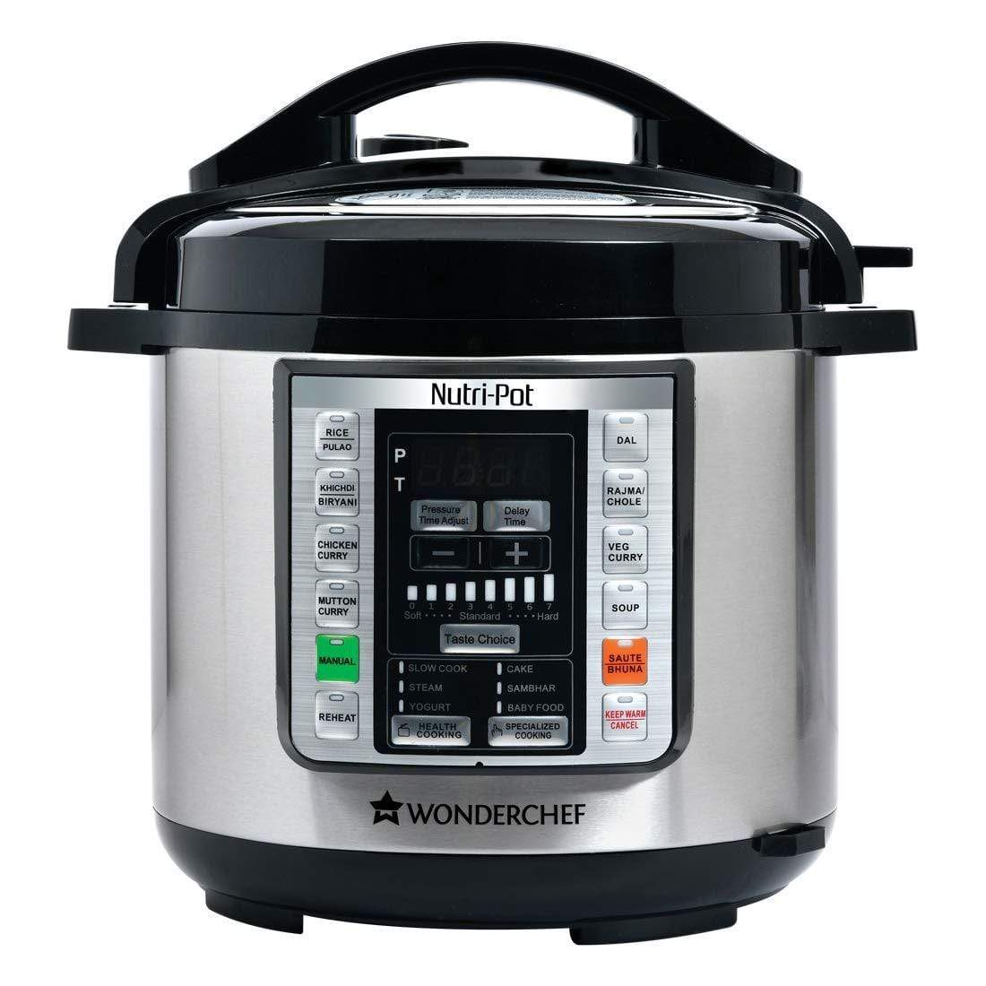 Wonderchef Nutri-Pot 6-Litres 1000 Watts (Black/Silver) - KITCHEN MART