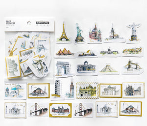 45pcs Travel Stickers Gold Foil Stickers Deco Stickers