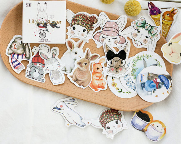45pcs Rabbit Stickers Bunny Deco Stickers