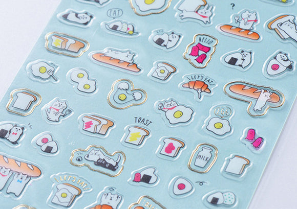 Breakfast Stickers Gold Foil Stickers Food Deco Stickers