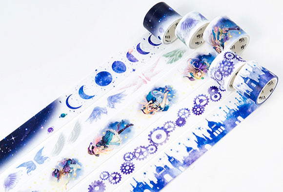 Set of 5 Astrology Girl Washi Tape Set Magic Deco Tapes