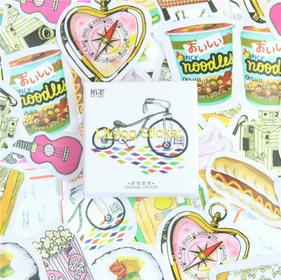 45pcs Lifelog Stickers Food Deco Stickers