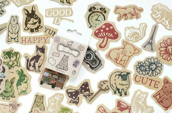 45pcs Retro Stickers Kraft Stickers Animal Stickers Deco Stickers