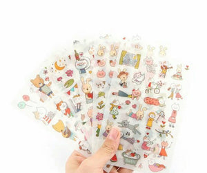 6 sheets Animal Stickers Rabbit Stickers Cat Stickers Bear Deco Stickers