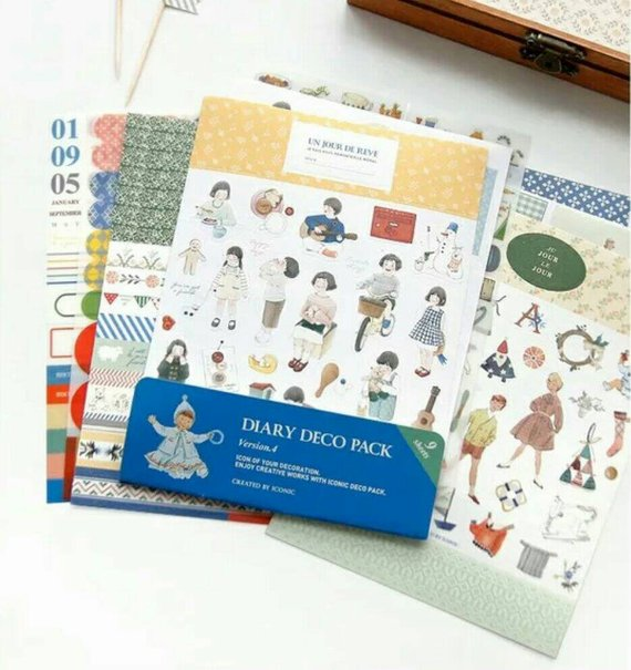 9 sheets Diary Deco Pack Deco Stickers