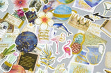 24pcs Tropical Plants Stickers Gold Foil Stickers Tropical Flowers Flamingo Pineapple Deco Stickers