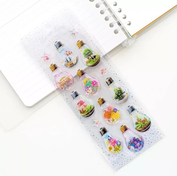 Terranium Sticker Hard Gel Sticker Lightbulb Sticker Plant Stickers Deco Stickers