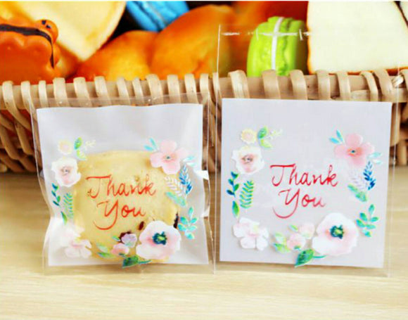 100 Floral Thank You Gift Bags Cookie Bags Resealable Bags Self Adhesive Bag Candy Bag