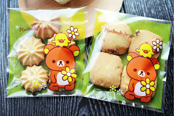 100 Rilakkuma Gift Bags 10x10cm Cookie Bags Resealable Bags Self Adhesive Bag Party Favor Bags Candy Bag Wrapping Cellophane Bags