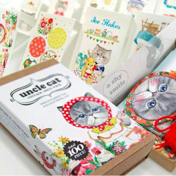 100pcs Cat Deco Pack Uncle Cat Stationery Set