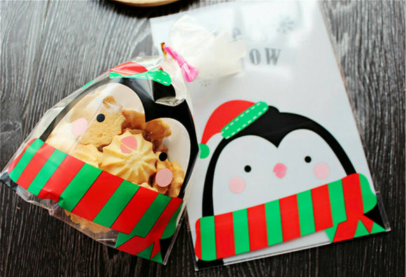 50 Christmas Gift Bags 14 x 20cm Penguin Cookie Bags Candy Bag Cellophane Bags Candy Bags Party Bags