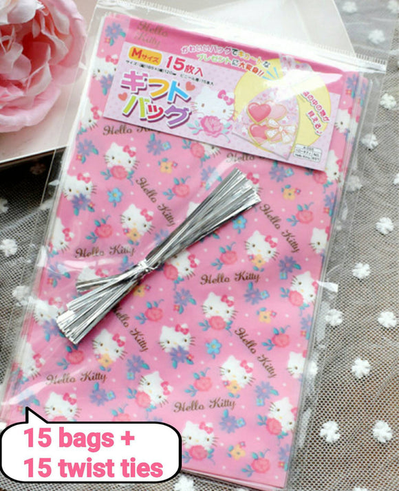 15 Hello Kitty Gift Bags Cookie Bags Twist Ties Sanrio Favor Bags Candy Bag Supplies Candy Bags Party Bags Cellophane Bags