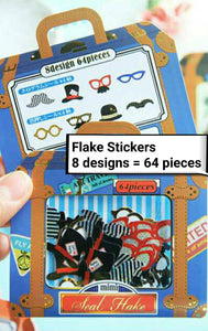64pcs Beard Stickers Glasses Shiny Stickers Deco Stickers