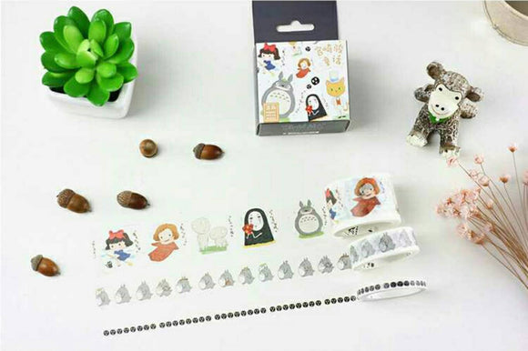 3 rolls Totoro Washi Tape Set Ponyo No Face Spirited Away Washi Tape