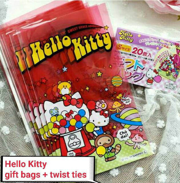 20 Hello Kitty Gift Bags Cookie Bags Twist Ties Candy Bag Cellophane Bags