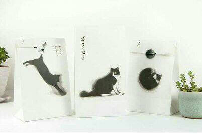 3 Cat Paper Bags Black and White Gift Bags Party Supplies