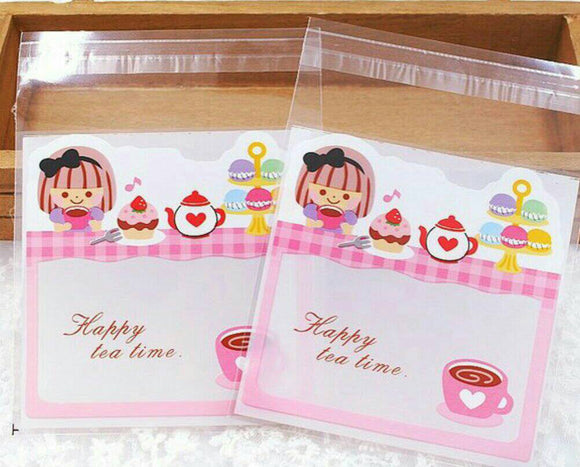 100 Afternoon Tea Girl Gift Bags 10 x 10cm Cookie Bag Resealable Bags Self Adhesive Bag Candy Bag