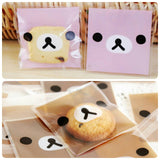 100 Rilakkuma Gift Bags Bear 7 x 7 cm Resealable Bag Self Adhesive Bag Cellophane Bags
