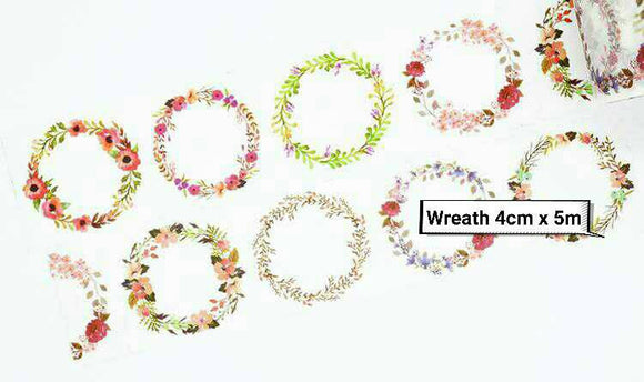 Floral Wreath Washi Tape Deco Tapes Floral Washi Tape Flower Washi Tape