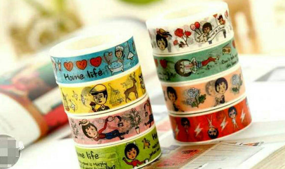 4 Rolls Cute Girl Washi Tape Deco Tapes