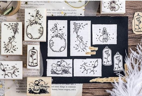 Set of 6 The Little Prince Stamp Sets Le Petit Prince Wooden Stamps