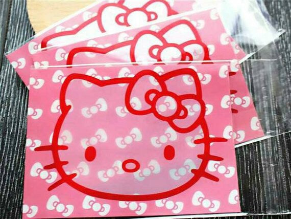 100 Hello Kitty Gift Bags 10 x 13cm Resealable Bags Self Adhesive Bag Cookie Bag Cellophane Bags
