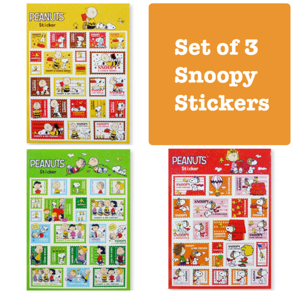 Set of 3 Snoopy Stickers Shiny Stickers