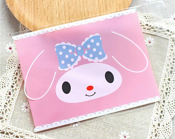 100 My Melody Gift Bags 10 x 13cm Resealable Bags Self Adhesive Bag Cookie Bag Cellophane Bags