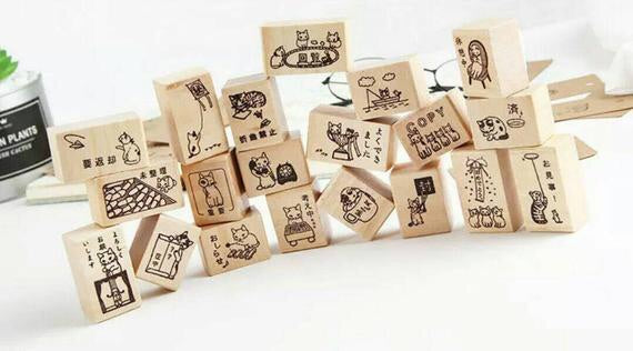 Set of 12 Cat Stamp Sets Cat Wooden Stamps