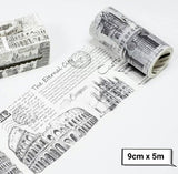 Wide Washi Tapes Rome Travel Washi Tapes Retro Washi Tape Black and White Deco Tapes