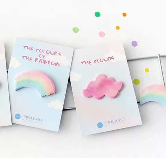 Set of 2 Cloud and Rainbow Sticky Notes Sticky Memo