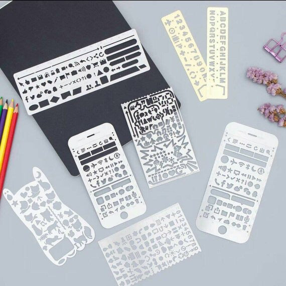 Metal Stencils Bullet Journal Stencil Template Numbers Alphabet Cat Stencils