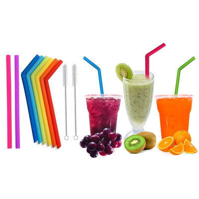 Reusable Silicone Wide Drinking Straws with Cleaning Brushes (10-Pack)