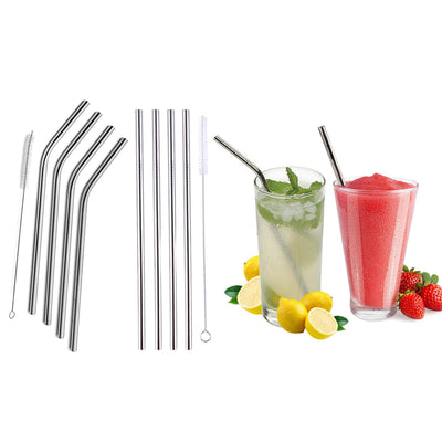 Stainless Steel Bend or Straight Drinking Straws (5- or 10-Pack)