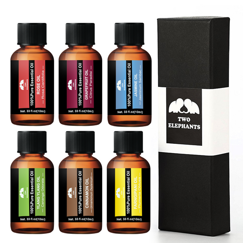 Two Elephants™ 6 Pieces Aromatherapy Therapeutic Grade Essential Oil Gift Set