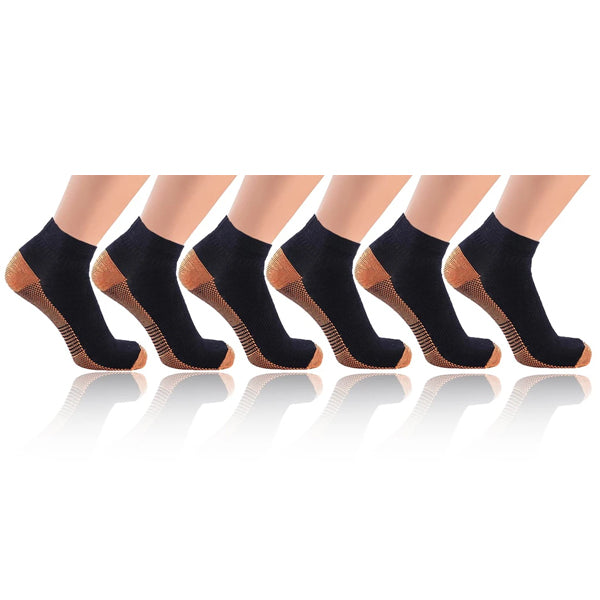 6-Pairs: Copper-Infused Compression Crew Socks