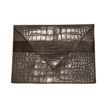 Gray Crocodile Embossed Clutch with Strap