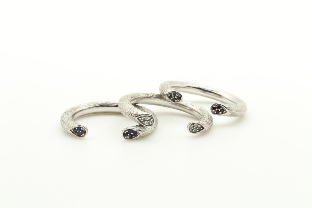 Open Rose Stem Stackable Rings
