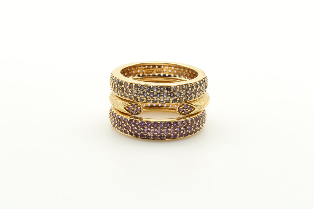 Stackable Pave Band Rings & Open Rose Stem