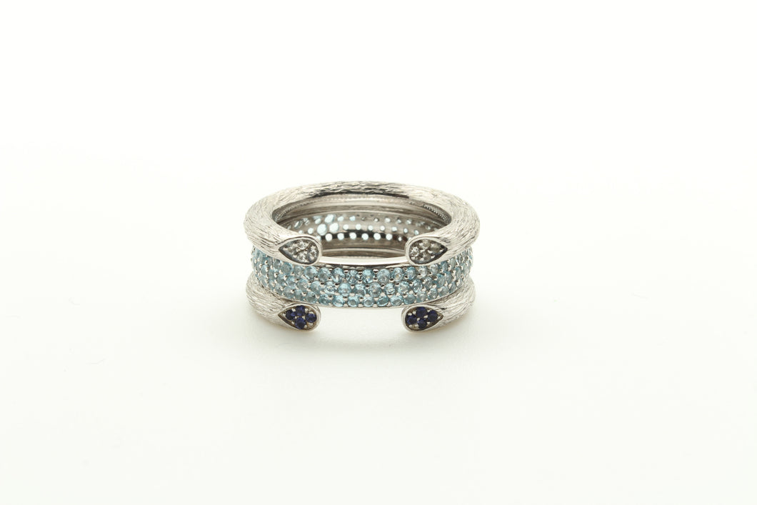 Open Rose Stem Stackable Rings & Stackable Pave Band Ring
