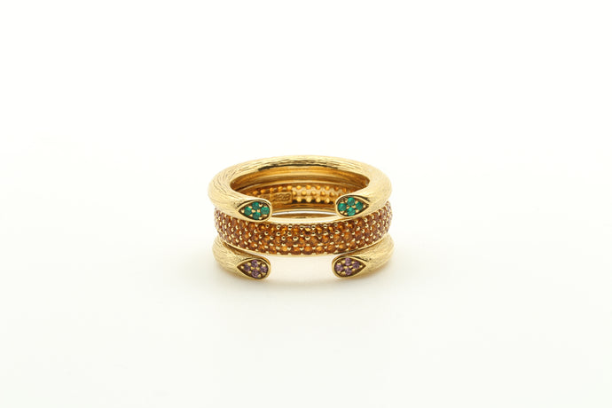 Open Peruvian Rose Stem Rings & Pave Band Stackable Ring