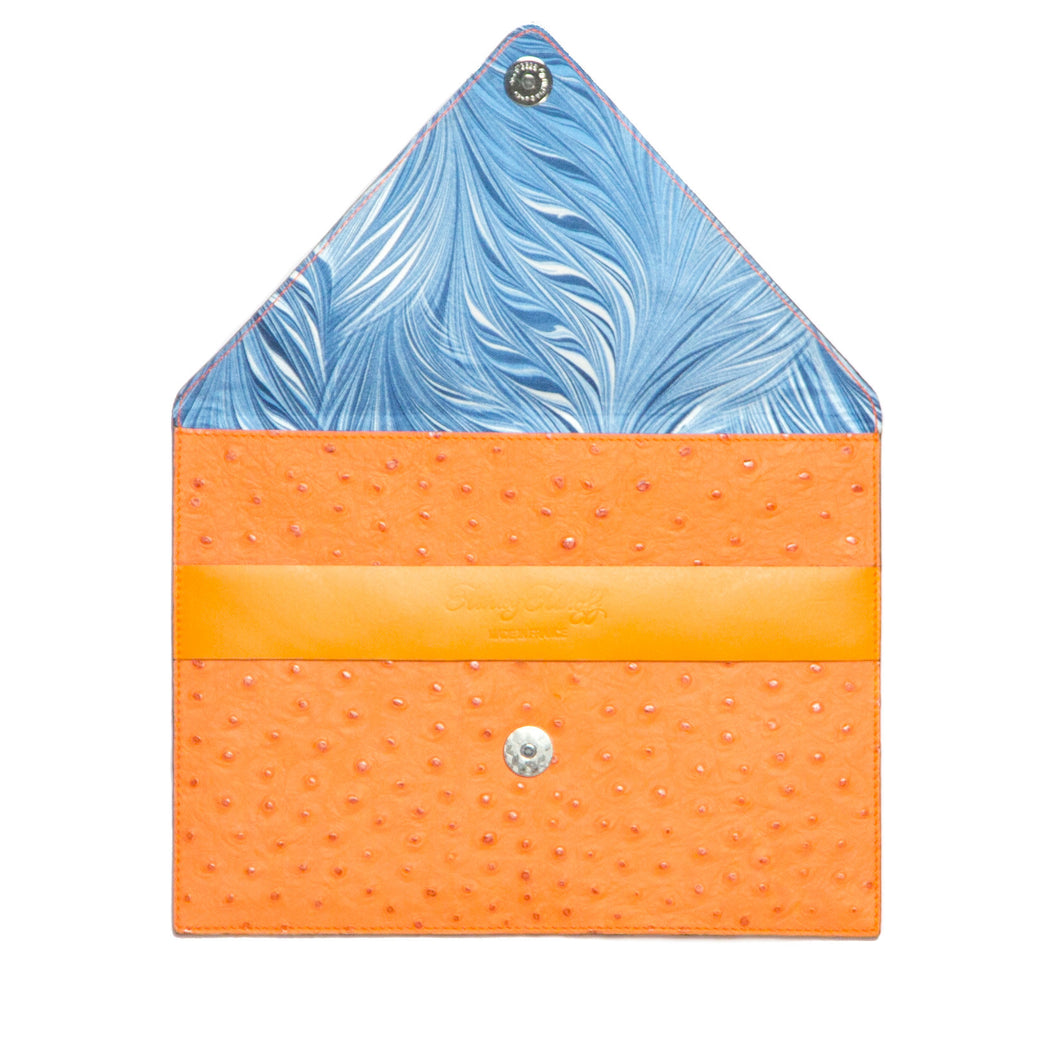 Orange Ostrich Embossed Clutch with Strap